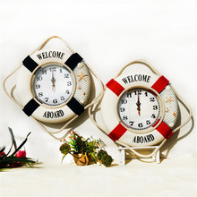 retro wood round wall clock vintage large desktope clock anchor seat needle home decoration hanging clock