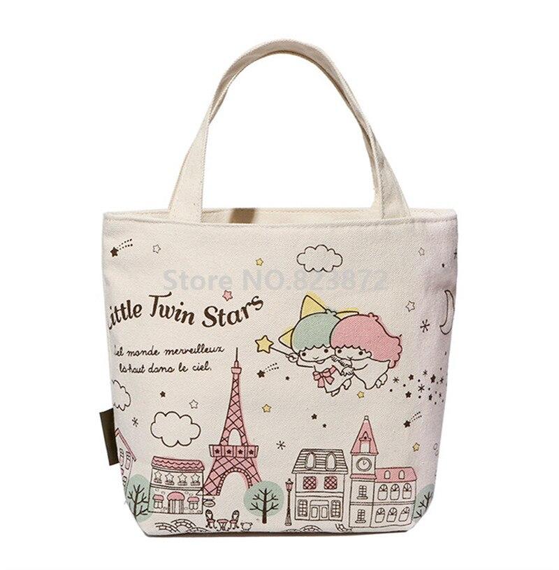 Cute Little Twin Stars Women Canvas Lunch Bag for Kids Girls School Lunch Box Bags Tote Kawaii Cartoon Picnic Food Bag Zipper  tote bag