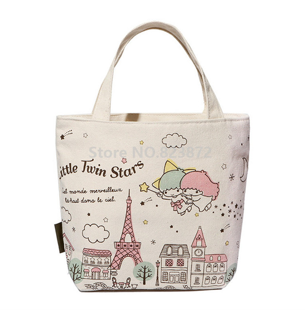 Cute Cartoon Little Twin Stars Canvas Tote Bag Women Handbag Kids Lunch For S School
