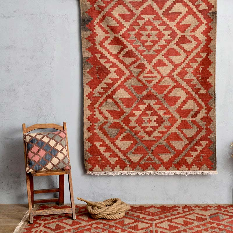 Kilim 100 Wool Handmade Carpet Geometric Indian Rug Plaid