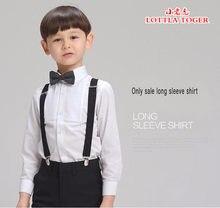 Camisa elegante de manga longa para meninos, camisa para meninos e crianças, branca, crianças, algodão, acessórios para festa de casamento, roupas masculinas, 2016