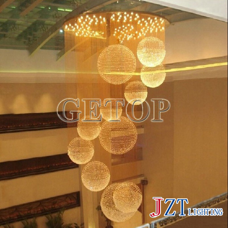 T best price crystal droplight stair dining room ceiling light sitting room bedroom light ball chandelier lamp LED lamps