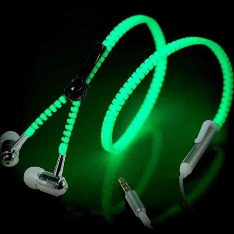 Lampu Bercahaya Ritsleting Logam Earphone Glow In The Dark Headphone Headset Kreatif Baru Fashion Ritsleting Headphone Earhpones