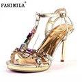 O envio gratuito de sandálias de salto alto fino boemia mulheres sexy lady moda ouro diamante sapatos XXX28 hot venda tamanho EUR 34-40