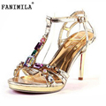 free shipping thin high heel sandals bohemia women sexy fashion lady gold diamond shoes XXX28 hot sale EUR size 34-40