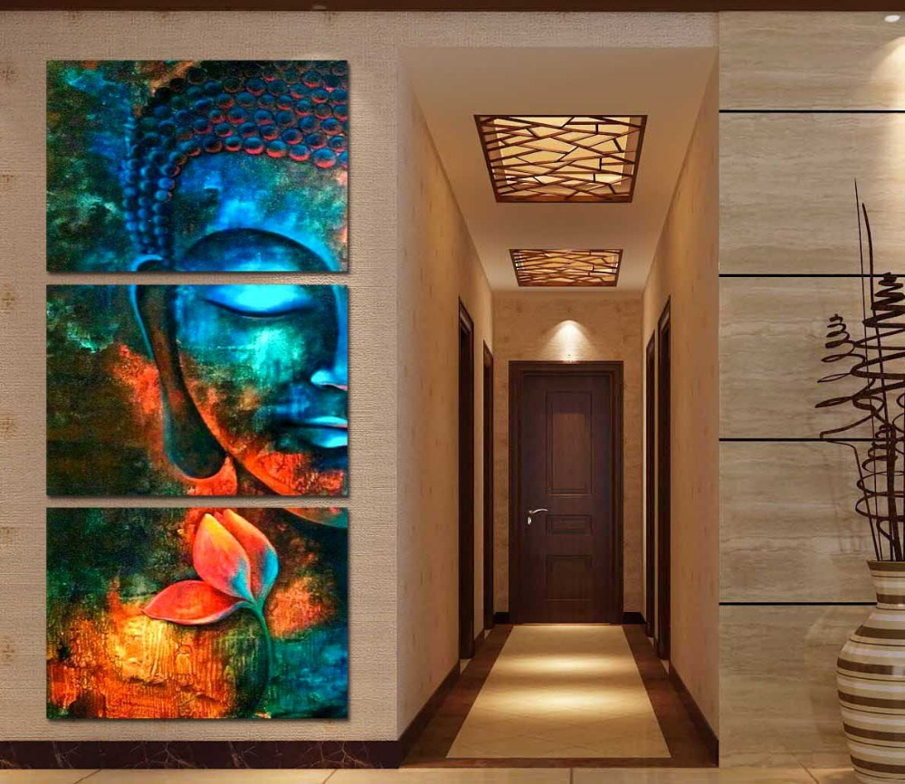 Framed 3pcs Abstract Blue Buddha Modern