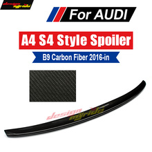 цена на A4 B9 Rear spoiler Tail Wing AES4-Style Carbon Fiber For Audi A4 A4a A4Q B9 rear spoiler Tail Rear trunk Lid Boot Lip wing 2016+