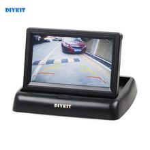 DIYKIT 4.3 inch Foldable TFT LCD Backup Car Reverse Rear View Car Monitor for Car Camera DVD VCR