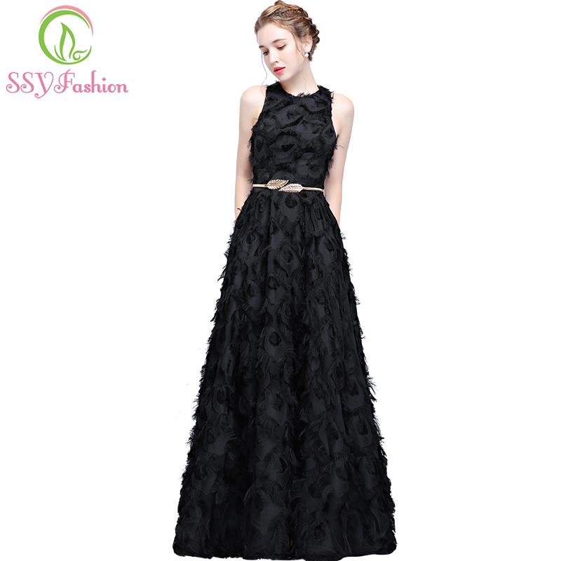 SSYFashion New Simple Black   Prom     Dress   The Banquet Elegant Sleeveless Floor-length Feathers Halter Long Evening Party Gown