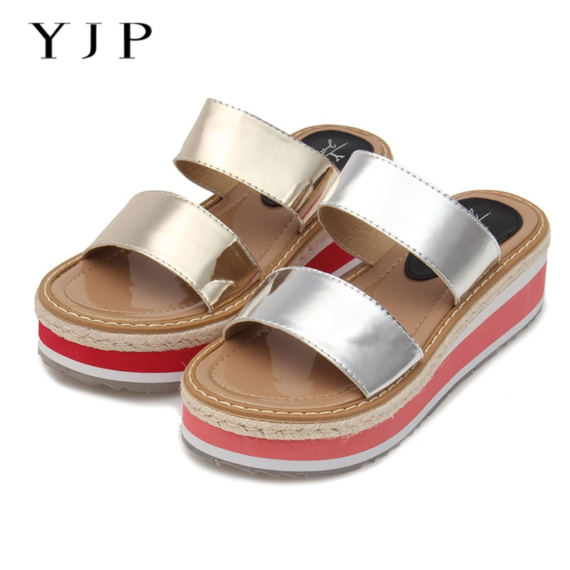 YJP Women 4cm Platform Sandals, Summer Gold/Silver Gladiator Beach Shoes, Ladies Wedges Slip On, Hemp Thick Bottom Slippers phyanic 2017 gladiator sandals gold silver shoes woman summer platform wedges glitters creepers casual women shoes phy3323