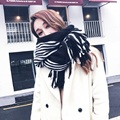 Christmas gifts winter imitation cashmere stitching stripes women scarf&Pashmina Thicken Warm Wrap wool scarf winter Pashmin