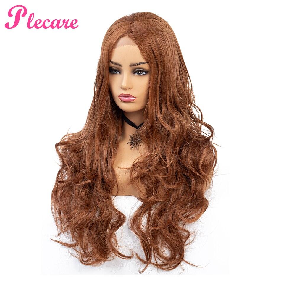 Plecare 150% densité soyeux ondulé synthétique dentelle avant perruques #30 Blond résistant à la chaleur perruques avec partie naturelle pour les femmes Pruiken perruques