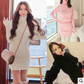 Autumn winters sexy knitting sweater fashion turtle neck long sleeve women's sweater dress