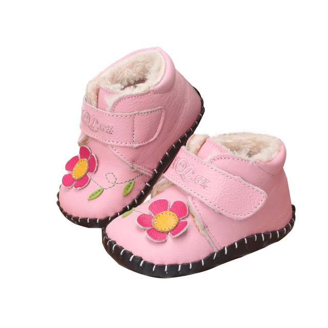 2015 Winter Baby Shoes Girls Boots Flower Soft Toddler Shoes Geniune Leather Warm Cotton Baby Girl Boots Prewalker First Walkers