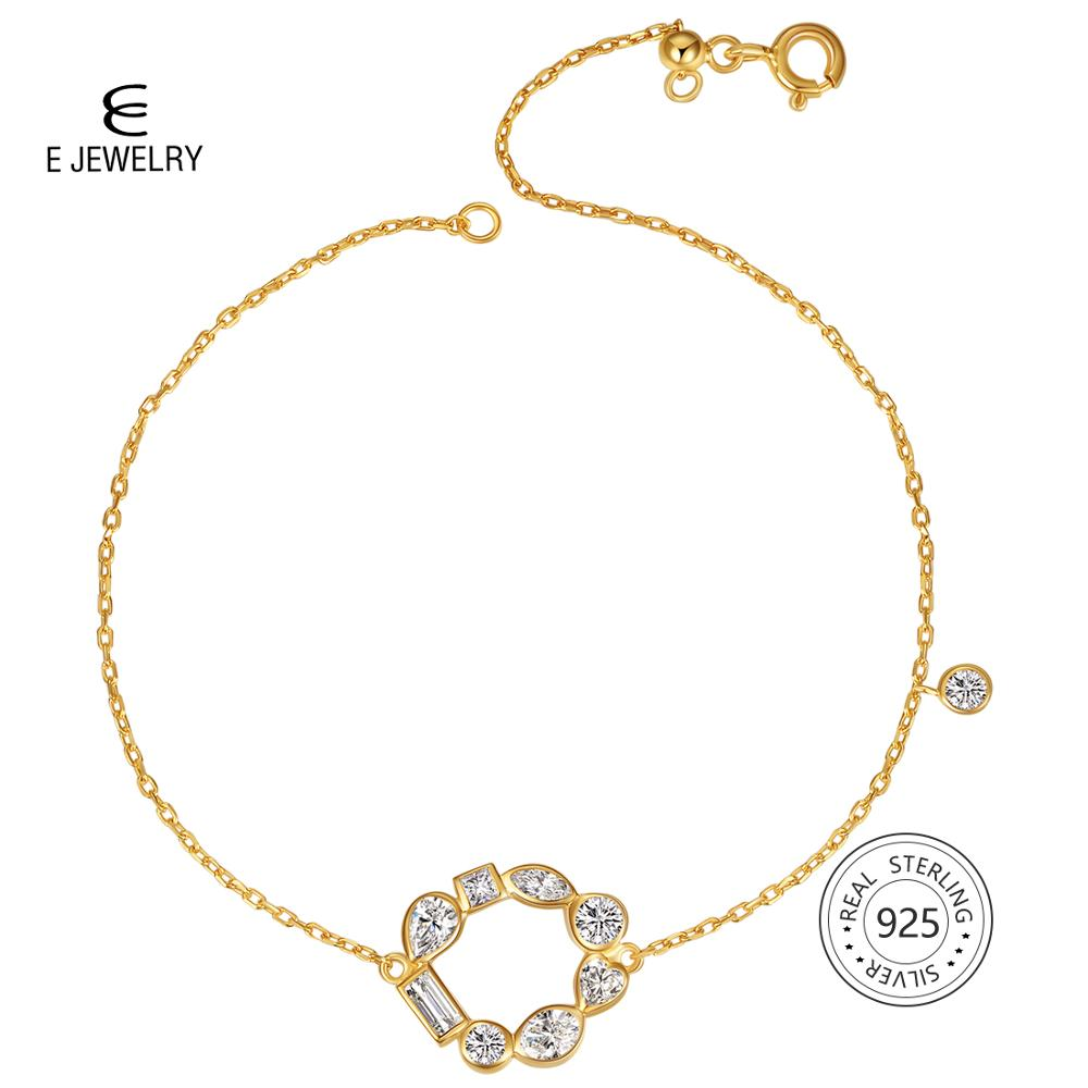 Silve Rose Gold Crystal Hollow Round Chain Bracelets For Women Party Jewelry