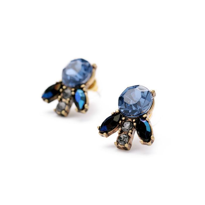 Pendientes de moda para mujer Nueva llegada marca vintage dulce lindo gemas azules pequeño pendiente para mujer E0665