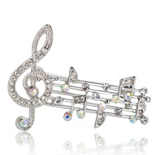 Crystal Treble Clef and Stave Brooch (2 Colors)