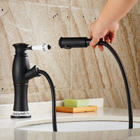 Pull Out Sprayer Basin Faucet Black Antique Crystal Single Handle Brass Water Mixer Tap With Chinese