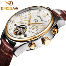 BINSSAW Mens Luxury Brand Genuine Leather Tourbillon Watch Men Automatic Mechanical Wristwatch Steel Watches Relogio Masculino цена в Москве и Питере