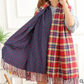 Autumn and winter thick double-sided cashmere plaid bohemian fringed scarves warm shawl dots female factory direct