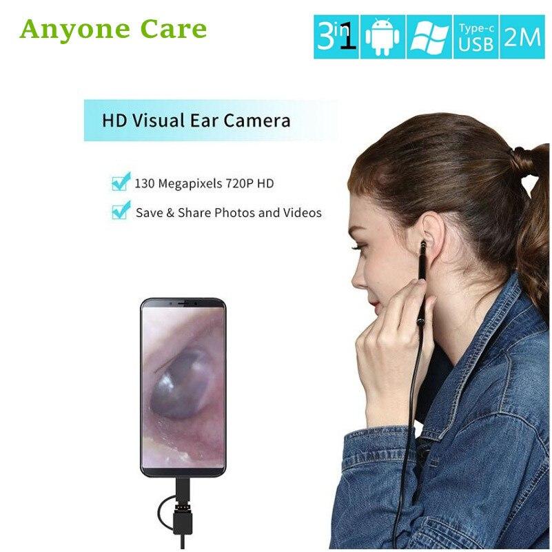 3-en-1 USB Android type-c Earwax nettoyant Endoscope HD visuel oreille cuillère multifonctionnel Earpick Mini caméra oreille soins de santé outil
