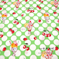 140X100cm White Polka Dot Red Cherry Strawberry Juice Glass Green Pink Cotton Fabric Girl Clothes Curtain