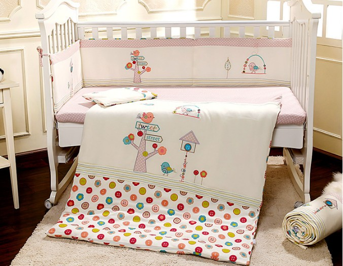 Promotion! 7PCS embroidery crib cot bedding set baby bedding set cartoon baby crib set ,include(2bumper+duvet+sheet+pillow) promotion 7pcs embroidered baby bedding set crib bedding set comfortable baby bumper set 2bumper duvet sheet pillow