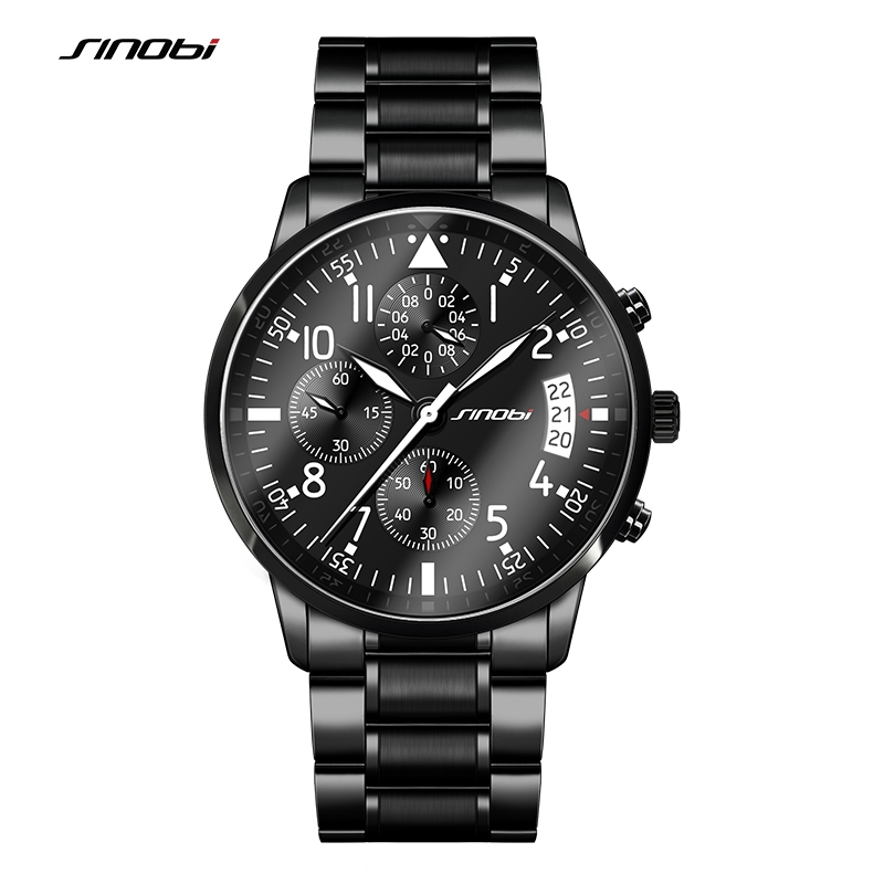 SINOBI Sports Men's Chronograph Pilots Wrist Watches Black Steel Watchband Top Luxury Brand Males Quartz Clock Man Wristwatch