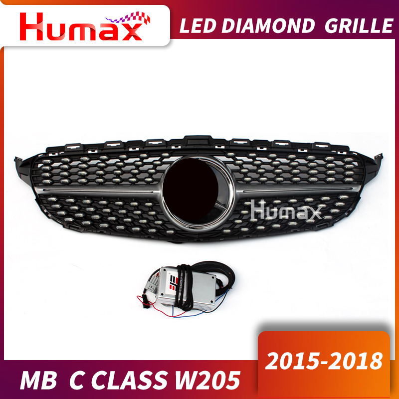 For C class w205 AM G Diamond LED grill replacement C200 C300 LED front grill lighting