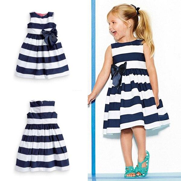 Платье без рукавов для маленьких девочек бант голубые летние платья-пачки в полоску, с бантом