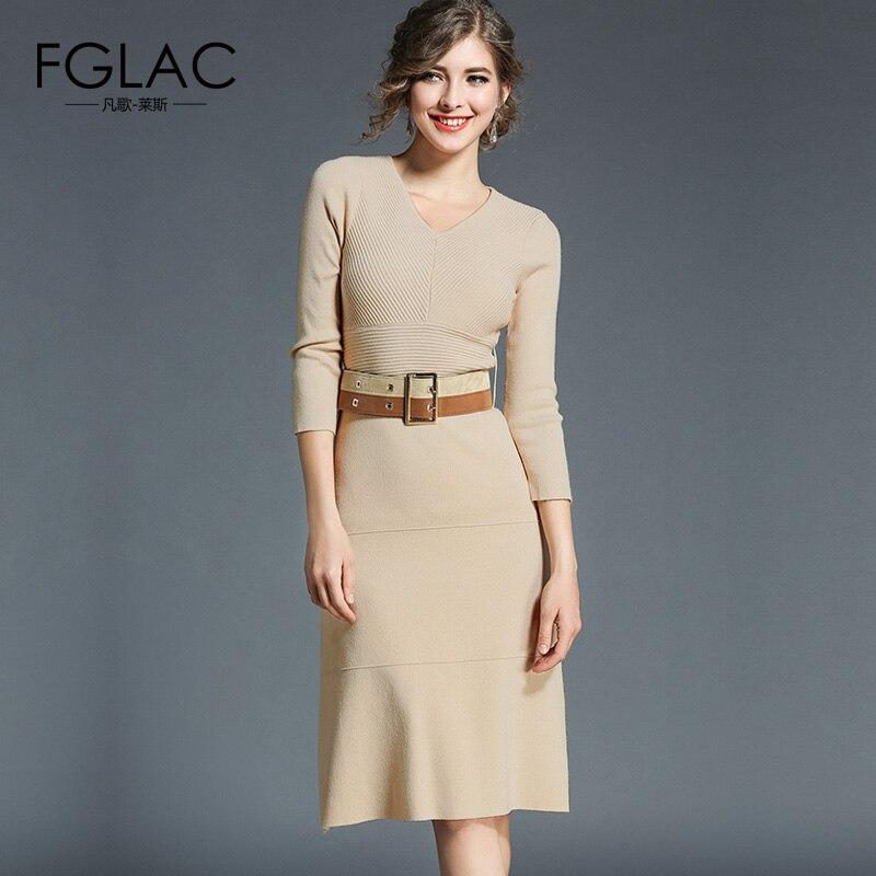 FGLAC Women knitted dress New 2017 Winter long sleeved women dress Elegant Slim V-Neck knitted clothing