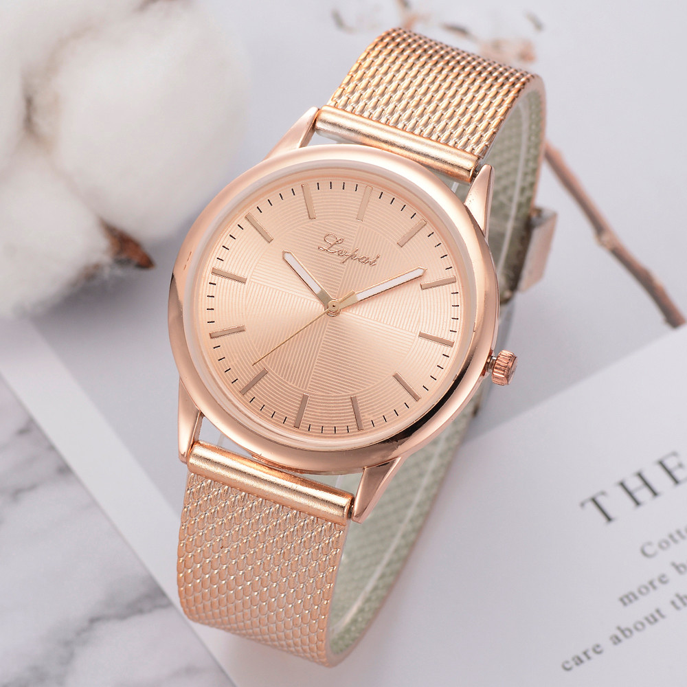 LVPAI Watches For Women Luxury Silver Popular Pink Dial Flowers Metal Ladies Bracelet Quartz Clock Ladies Wrist Watch New 533