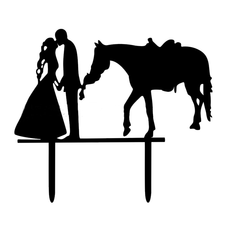 Wedding Cake Inserted Card Party Refinement decoration(Couple and horse)