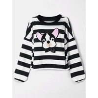 CharMma 2018 Spring Puppy Appliqued Striped T Shirt Women Autumn Long Sleeve Cute Tops Tees Winter