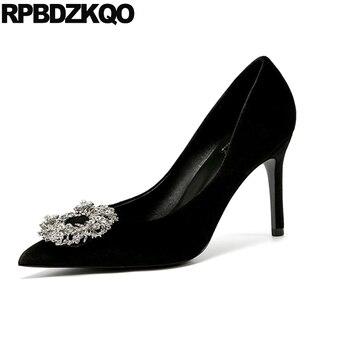 medium heels pink crystal shoes stiletto wine red black ladies big size pointed toe pumps velvet rhinestone high evening diamond