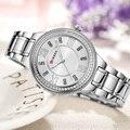 CURREN frauen uhren mode luxus uhr mode Alle Edelstahl Hohe Qualität Diamant Damen Uhr Frauen Strass Uhren-in Damenuhren aus Uhren bei