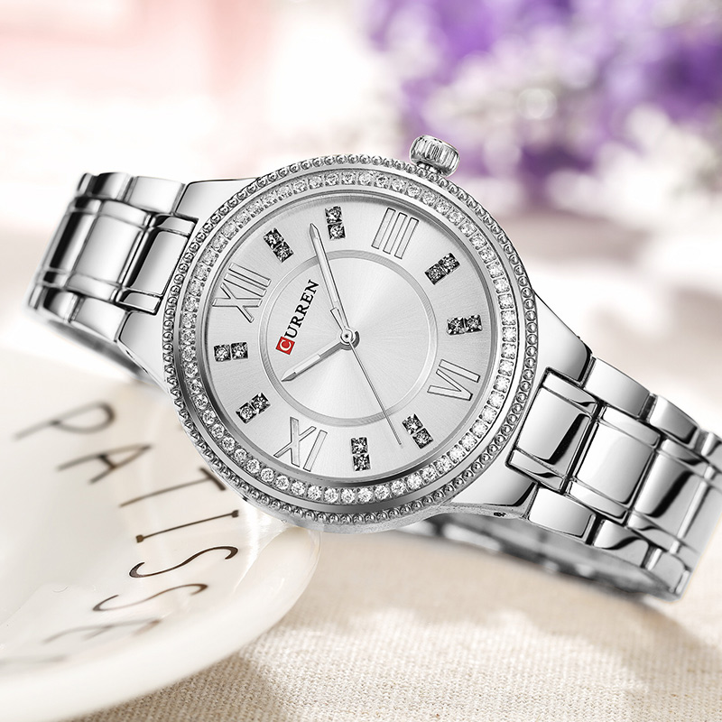 CURREN Women Watches Fashion Luxury Watch Fashion All Stainless Steel High Quality Diamond Ladies Watch Women Rhinestone Watches
