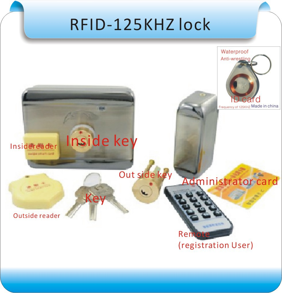 DIY Internal and external key (RFID) to open the door RFID Lock Access Control System +10pcs cards diy lock system metal keypadl k2 electric control lock 3a power supply exit button 10pcs key cards wireless remote control