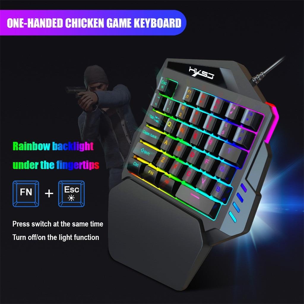 1.6 M Bedrade Gaming Toetsenbord Met Led Backlight 35 Toetsen Een Hand Membraan Toetsenbord Voor Lol/pubg/ Cf
