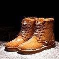 2016 Botas de Inverno dos homens Novos Moda Casual Rendas Até Botas de Neve Sapatas do Lazer Dos Homens da coréia do Estilo Quente Não-deslizamento de Baixo Para Ajudar Homens botas