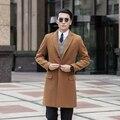 2016 nova chegada projeto longo fino casaco de lã casaco de inverno homens único breasted trincheira outerwear plus size 8XL 9XL