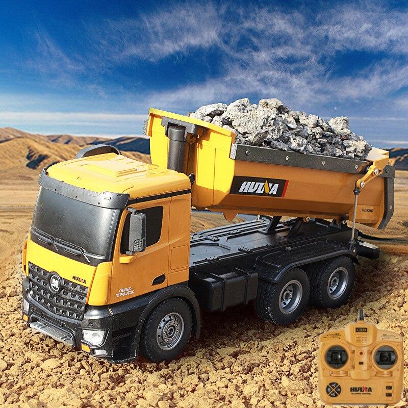 2019 véhicule de Transport d'ingénierie RC à télécommande chaude 573 2.4G 10CH 5 KG Auto-déchargement modèle de camion à benne basculante RC à chargement de terre