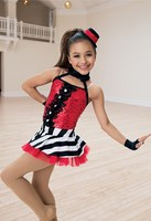 Children's Jazz Dance Suit Girls Modern Dance Costumes Female Sequins Striped Gauze Skirts Stage Competition Dance Wear D 0430