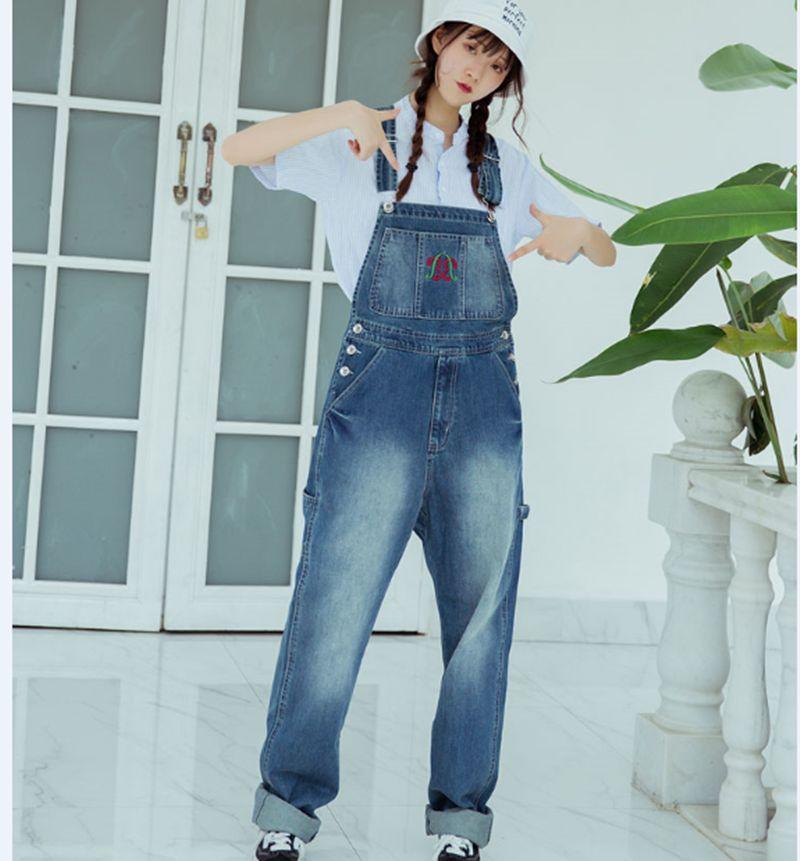 Europe Boyfriend Cowboy Overalls Plus Size Women embroidery Wide Leg Denim Jumpsuit Baggy Bib jean Rompers