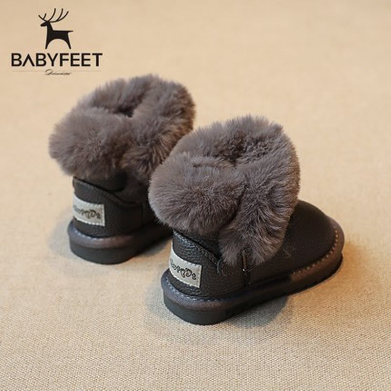 babyfeet Winter fashion Warm Plush high top PU Leather children ankle enfants toddler girls boots kids leather child female snow yin qi shi man winter outdoor shoes hiking camping trip high top hiking boots cow leather durable female plush warm outdoor boot