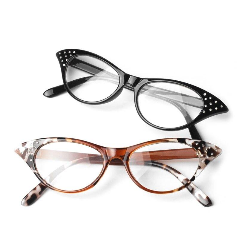 Cat Eye Women Reading Glasses Resin Crystal Rhinestone Decoration Glasses-W7 10