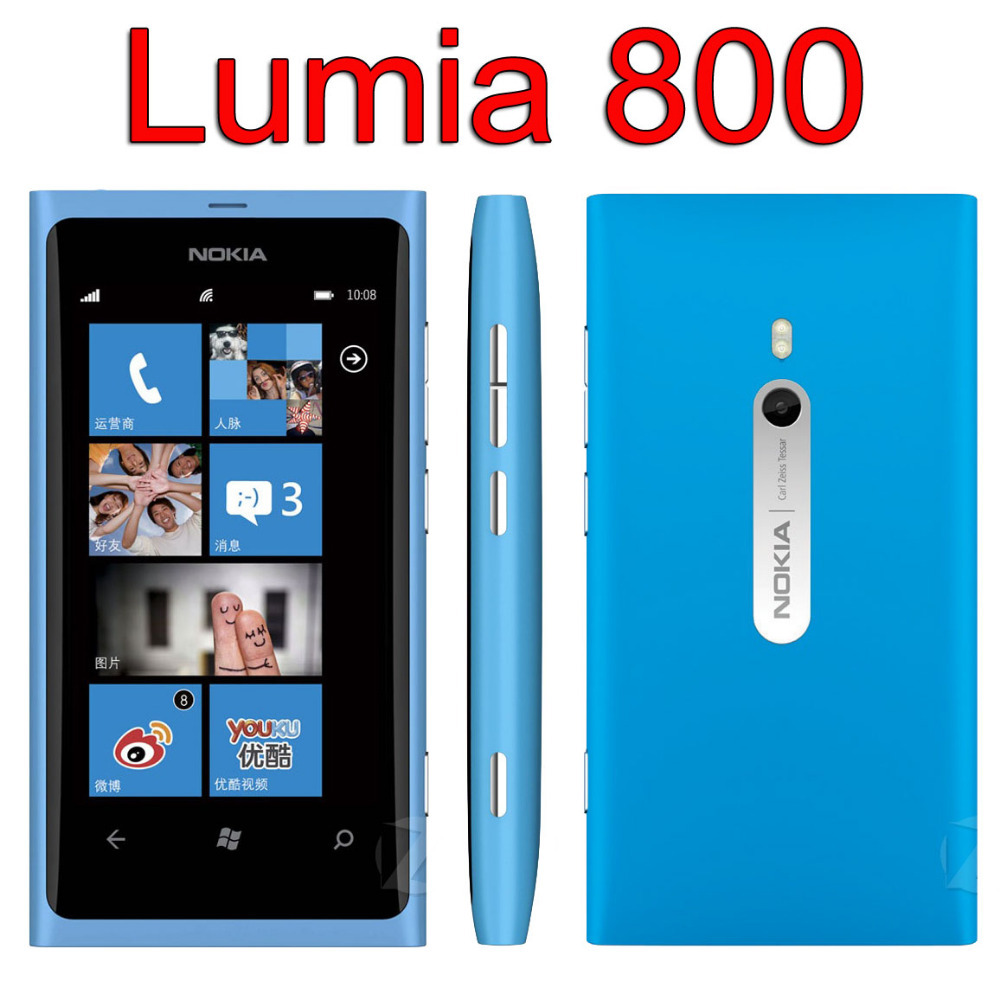 Original NOKIA Lumia 800 Mobile Phone Unlocked Nokia 800 Windows Phone 3G Wifi 8MP visa