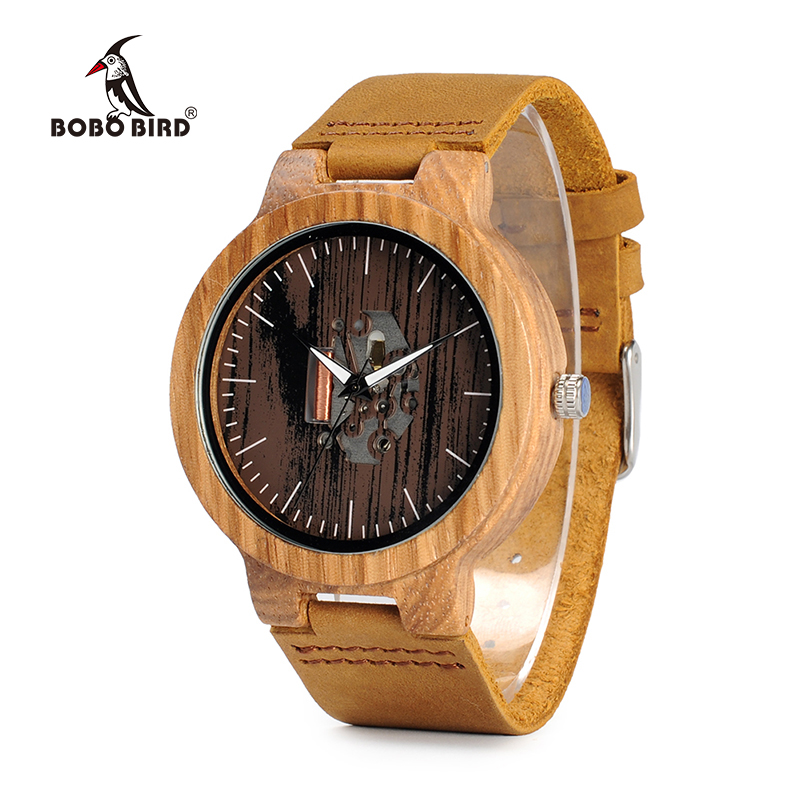 BOBO BIRD WH29 Mens Zebra Wood Watch Real Leather Band Cool Visible Quartz Wooden Watches for Men With Gift Box Dropshipping bobo bird wh05 brand design classic ebony wooden mens watch full wood strap quartz watches lightweight gift for men in wood box