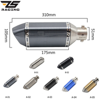 ZS Racing 51mm Universal Exhaust Steel White Akrapovic Motorcycle Exhaust Scooter Muffler Exhaust For CBR125 250 CB400 YZF FZ400
