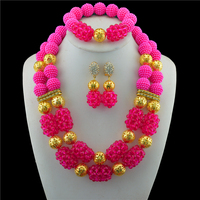 Fuchsia African Beads Jewelry Set 2018 Nigerian Wedding African Beads for Brides Party Bridal Jewelry Set Free Shipping